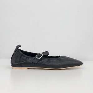 mary jane flat shoes (leather black)