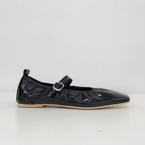 mary jane flat shoes (patent black)