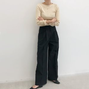 wide tuck pants (3color)