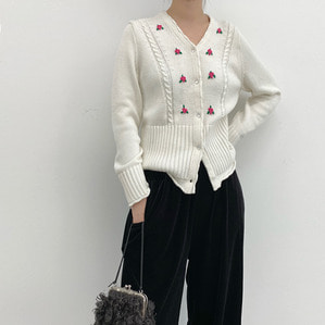 수입 rouj* flower cardigan