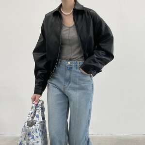 fake leather blouson