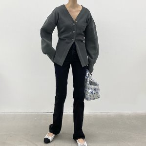 charcoal컬러 품절,ivory컬러만 진행합니다 line button cardigan (2color)