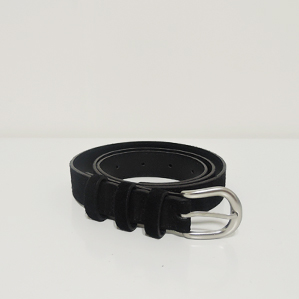 silver buckle belt (suede)